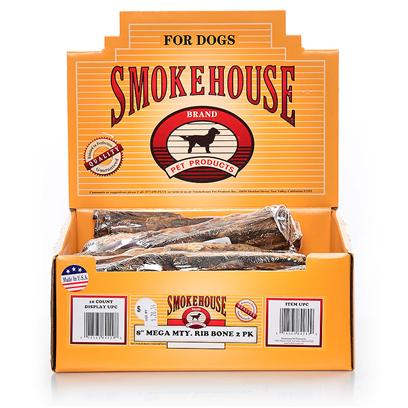 Smokehouse Presents 8' Mega Mighty Ribs 2pk 10ct 2 Pk-Shelf Dispenser-10ct. Slow Roasted to Perfection with Lots of Meat Still on the Bone the Mega Meaty Ribs are a Tasty all Natural Treat. [18660]