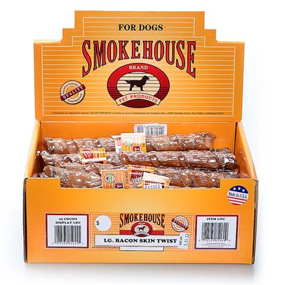 Smokehouse Presents Smokehouse Large Bacon Skin Twists Small (Sm) Twist Sw 25t Dsp Bx. Each Roll Comes Shrink Wrapped and Upc Labeled Stylish Cardboard Display can Fit on Counter or Shelf or in Smokehouse Wire Rack #20000 100% Natural Smoked Pork Product Great Treat for your Dog that Provides Hours of Fun. Great for Keeping Teeth Clean and Healthy. Made in the Usa Supplemental Treat [18661]