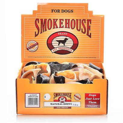 Smokehouse Presents Smokehouse Beef Hooves Small (Sm) Hoove Bulk 45ct Dsp Bx. The Smokehouse Beef Hooves Natural Chew for Dogs are Natural Hand Cuts that Preserve the Real Flavors of Beef. They are Tasty,Long Lasting and are Roasted in their Own Juices to Enhance their Color and Flavor. [18663]