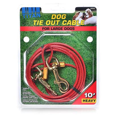 Coastal Presents C Cable Tieout Heavy-10ft. Increase your Tie-out Sales with Titan Cable Combos. Item #89010 Combines a 17&quot; Spiral Stake and 15' Tie-Out. Item #89011 is a 20&quot; Dome Stake with 15' Tie-Out. Designed to Hold Dogs Up to 80 Lbs., these Combo Units Offer your Customers Everything they Need Sturdy Construction, Easy Installation and a Very Favorable Price. Unconditionally Guaranteed and Attractively Displayed on a Durable Header Card, Coastal Pet Products' New Cable Combos are Designed to Sell. [18683]