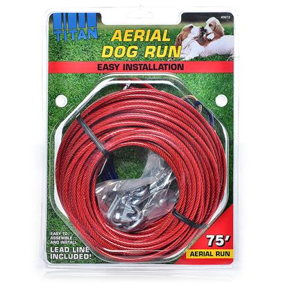 Coastal Presents Titan Aerial Dog Run-75 Feet Run-75ft. Recommended for Dogs Up to 80 Pounds. Easy Installation and Lead Line Included. Complete with all Hardware to Connect Run Between Two Wooden Sources - Tree, House, Pole, Etc. [18684]