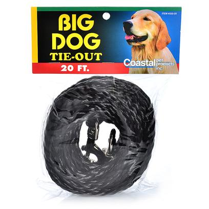 Coastal Presents Nylon Poly Tieout-Black 3/8' X 15ft. Pets Like to Explore the Outdoors just Like People. Pet Owners Need a Dependable Tie-out to Assure their Pet's Safety while Outside. Coastal's Poly Tie-Outs are Weather Resistant, Lightweight, Tangle Resistant and have Nickel Plated Swivel Snaps. Keep your Customers Happy by Offering them Coastal Poly Tie-Outs. [18686]