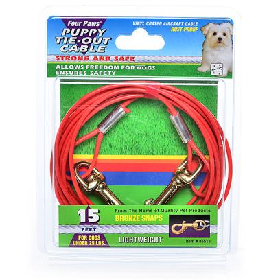 Four Paws Presents 15ft Puppy Cable Tieout 480lb-Orange Fp Cab 480lb. Four Paws Dog Tie out Chains & Cables Ensure Pet Safety while Allowing Complete Freedom. These Rust-Proof Chains are Available in a Variety of Lengths and Weights. 15' Orange [18689]