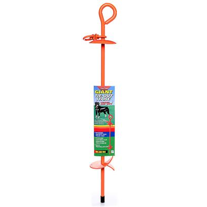Four Paws Presents Four Paws Giant Tie-out Stake. The Giant Tie out Stake was Designed to Firmly Anchor Large Dogs. The Stake is 28&quot; Long and Made of Solid Steel that has been Powder Coated to Inhibit Rust. The Bright Orange Color Reduces the Chance of Accidents or Damage of Lawn Equipment. [18735]