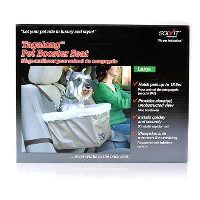 Solvit Presents Tagalong Pet Booster Seat Deluxe Medium. Your Dog will be Even More Excited to Hear the Words Car Ride! Once they Experience the Solvit Tagalong Booster Car Seat! This Seat was Specially Designed with Dogs in Mind to Give them a Safe and Comfortable Place to Hang out while you Drive. Unlike Other Booster Seats that Sit Too Low or Limit your DogS Movement with Clumsy Straps, the Solvit Tagalong Booster Car Seat is Elevated for an Unobstructed View, and it Supports your Dog from Below with Straps that WonT Get in the Way. A Zippered Front Storage Pocket is a Great Place to Keep Treats, Toys, or Waste Bags, and a Safety Leash is Included should you Want to Take the Extra Step for Security. This Seat Installs in the Front or Back Seat (with a Head Rest) in One Minute, and it is Available in Multiple Sizes. The Super-Soft and Cozy Liner is Machine Washable for an Easy Clean. [18784]