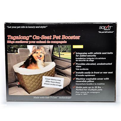 Solvit Presents Solvit Tagalong on-Seat Pet Booster on Seat Deluxe. The Solvit on-Seat Booster Cradles Pets in Comfort and Security as they Cruise Along. This Unique Booster Utilizes Safe-T-Core Technology, a System of Molded Panels that Fasten Together Permanently, Creating a Lightweight, yet Super-Strong Structure, Tested to 175 Lbs. This Rigid Internal Structure Integrates with the Vehicle Seat Belt to Provide Added Security for Pets. Installs Securely in One Minute in Either Front or Back Seat. A Roomy, Fully Padded Interior Gives Pets Up to 30 Lbs Room to Relax and is Perfect for Multiple Pets. The Inside Basket Dimensions are 18 Inches Wide by 14 Inches Deep at Bottom, 19.5 Inches Wide by 14.5 Inches Deep at Top, and the Sides are 8 Inches Tall. The Outside Dimensions of the Entire Unit are 22 Inches Wide by 17 Inches Tall by 17 Inches Deep. The Inside Floor of the Basket is Nine Inches above the Vehicle Seat so Pets can Easily see out while Traveling. Unlike Foam-Based Booster Seats, the on-Seat Booster will not Trap Odors  Cleans Easily to Stay Looking and Smelling Fresh. Adjustable Safety Leash Included. Dimensions Inside Basket Measurements  Bottom of the Basket Measures 18 Wide X 14 Deep  Top of the Basket Measures 19.5 Wide X 14.5 Deep  Sides Measures 8 Tall  Outside Basket Measurements  Outside Measures 22 Wide X 17 Tall X 17 Deep Available in Standard and Deluxe Model  Standard - Quilted Polyester with Sheepskin Liner  Deluxe- Quilted Microfiber with Quilted Plaid Liner [18788]