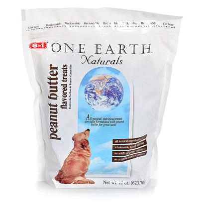 8 in 1 Presents One Earth Peanut Butter Treats 22oz. One Earth Biscuits are Made with all Natural Ingredients, Proteins, Vitamins and Minerals, and Contain no Preservatives, Artificial Colors or Flavors. Healthful, Tasty Peanut Butter Treats Full of Wholesome, Baked Nutrition. Between 1% and 2% of the Estimated Retail Price on Sales of One Earth Pet Food Goes Toward Supporting Conservation Work Throughout the World Protecting Wildlife and their Habitats; Including Fisheries, Forests, Wetlands, and Open Lands. [18829]