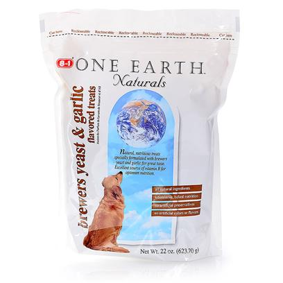 8 in 1 Presents One Earth Brewer's Yeast &amp; Garlic Bar 22oz. One Earth Biscuits are Made with all Natural Ingredients, Proteins, Vitamins and Minerals, and Contain no Preservatives, Artificial Colors or Flavors. Natural Protein, Vitamins and Minerals Make these Tasty Biscuits a Healthy Treat. Between 1% and 2% of the Estimated Retail Price on Sales of One Earth Pet Food Goes Toward Supporting Conservation Work Throughout the World Protecting Wildlife and their Habitats; Including Fisheries, Forests, Wetlands, and Open Lands. [18830]