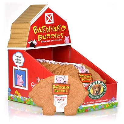 Nature's Animals Presents Barnyard Buddies-Pig Shaped Biscuits Bacon &amp; Cheese-18 Pack. Nature's Animals Currently Offers Adorable Cows and Pigs as Part of our Barnyard Buddies Line. Cows Come in Luscious Beef &amp; Oat Flavor and Pigs are Available in Yummy Bacon &amp; Cheese Flavor. Look for them in the Store in their Barn Display! Each Pig and Cow is Individually Wrapped. Ingredientswhole Wheat Flour, Wheat Bran, Bacon, Cheese, Ground Brown Rice, Corn Oil, Parsley, Garlic and Preserved with Mixed-Tocopherols (Source of Vitamin E). [18834]