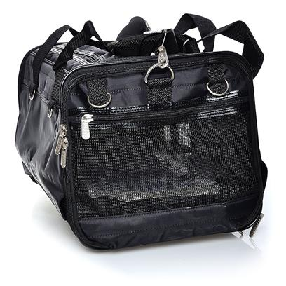Sherpa Pet Carriers Presents Sherpa Ultimate Bag on Wheels-Medium on-Wheels Med/Blk. Recessed Easy-Glide Wheels for Smooth Motion; Mesh Panels on 4 Side for Ventilation and Panoramic View; Roll-Up Flaps, Roll Down Shades for Privacy; Front and Top Entry; Convenient Travel Tray &quot;a Bed in a Bag&quot;; External Double Mesh Pocket for Storage; Detachable Handle Pull/Shoulder Strap; Inside Leash Ring; Washable Faux Lambskin Liner; Fits Comfortably under Cabin Seat; for Pets Up to 16 Lbs (7.25 Kg), 16&quot; (41cm) L X 10&quot; (25cm) H [18941]