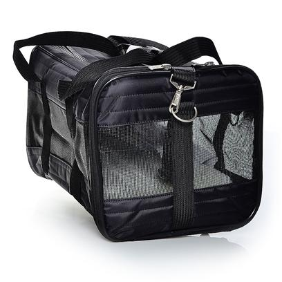 Sherpa Pet Carriers Presents Sherpa Original Deluxe Bag-Black Large. Durable Quilted Nylon Construction; Mesh Panels for Ventilation; Front and Top Entry; Washable Faux Lambskin Liner; Seat Belt Safety Strap Fits Conveniently over Upright Luggage Handle; Two Convenient Zippered Pockets; Adjustable Shoulder Strap; Inside Leash Ring; Washable Faux Lambskin Liner; Fits Comfortably under Cabin Seat; for Pets Up to 8 Lbs (3.62 Kg), 13&quot; (33cm) L X 8&quot; (20cm) H [18944]
