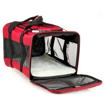 Sherpa Pet Carriers Presents Sherpa Original Deluxe Pet Carrier-Medium Red. This Carrier is so Comfy, You'll Wish you Could Travel in It. The Original Deluxe Pet Carrier has the Durability and Distinct Style your Pet Needs to Travel in Style and Comfort. The Top and Side Entries Give you Options for Getting your Pet in and out of the Carrier, and the Shoulder Strap Frees Up your Hands as you Juggle all your Bags. The Washable Faux Lambskin Liner is so Soft your Pet Won't Want to Get out, and the Mesh Panels Let Air Circulate through the Carrier, so your Pet can Breathe Easy and so can You. [18945]