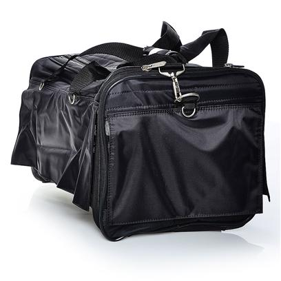 Sherpa Pet Carriers Presents Sherpa Roll-Up Bag Small Med/Blk. Mesh Panels on 4 Side for Ventilation and Panoramic View; Roll-Up Flaps for Privacy; Travel Tray for Additional Convenience; Fits Comfortably under Cabin Seat; Adjustable Shoulder Strap; Washable Faux Lambskin Liner; Top and Side Entry; for Pets Up to 8 Lbs (3.62 Kg), 13&quot; (33cm) L X 8&quot; (20cm) H [18949]