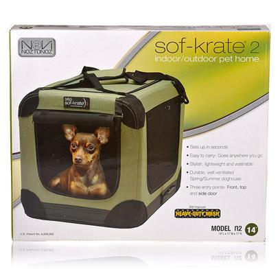 Noztonoz/Firstrax Presents Sof-Krate 2-Indoor/Outdoor Pet Home Nn Sof-Krates N 42x28x31 Green. A Crate can be a Safe Space for a Dog to Relax or Sleep, but you don't Want to Cart a Heavy Metal One Around with You. The Sof-Krate 2 Gives your Pet a Cool, Comfortable Place to Hang Out. The Lightweight Construction Makes it Easy to Transport; you WonT be Messing Around with any Stubborn Latches or Hooks Since it Sets Up and Folds Flat in Seconds. The Extra-Strong Steel Frame, Metal Zippers, and Tough Water-Resistant Bottom are Built to Last, and the Sides Made of Heavy-Duty Mesh Maintain a Well-Ventilated Environment that will Keep your Pet Cool in the Warmer Months. This Crate has Three Convenient Entry Points with Top, Front, and Side Doors so you can Put it just About Anywhere and Still have Access to your Pet. The Rounded Corners Keep Auto Interiors and Home Decor Safe from Bumps and Scratches, and the Material Cover is Removable and Washable. [19031]
