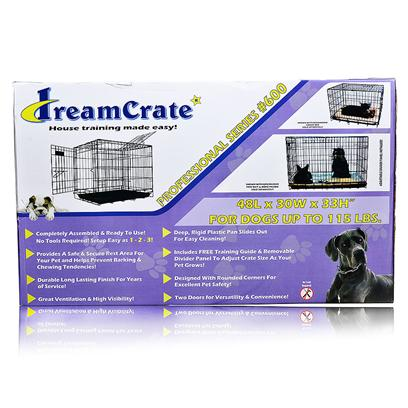 Pet Tek Presents Dreamcrate Professional Series Dog Crate Pro 600 (48' X 30'). Crate Training can be as Tough on you as it is on your Dog. The Crate Itself should be the Least of your Worries. Pet TekS Dreamcrates Take the Guesswork out of Crate Assembly, Cleaning, and Safety. TheyRe Made from a Durable and Secure Metal; there are no Sharp Edges Anywhere on the Crate, so you can be Sure Pooch WonT be Poked or Snagged while Moving Around; and a Rigid Plastic Pan Liner Slides in and out and is Easy to Clean. The Crate has a Heavy-Duty Carrying Handle, and a Removable Divider Panel. The Crate is Wide Open and Airy, but you can Drape Blankets to Create a Cozy Den Feeling. The Crate Requires no Tools for Assembly and Comes Together in Three Simple Steps. The Crate also Collapses Flat in no Time at all for Easy Storage. With the Right Bedding, Toys, and Other Comfy Accessories, Pet TekS Dreamcrate for Dogs is a no-Nonsense Option for Crate Training, Transportation, or Whatever Else a Pup Might Need from their Crate Experience. [19053]