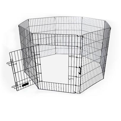 Pet Tek Presents Dreamzone Pro Exercise Pen with Door 36'. Professional Series 48&quot; Exercise Play Pen W/ Door Access &amp; Latch. Folds Down for Easy Storage and Includes Carrying Handle for Easy Transport. Quality Exercise Play Pen is Ready to Use and is Perfect for Dogs, Cat, and Other Small Animals. Protects Pets and is Perfect for Transport. Long Lasting Finish for Years of Service. 8 - 24&quot; Wide Panels Color - Black Pet Door Access with Security Latch. [19065]
