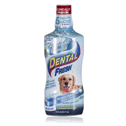 Synergy Labs Presents Dental Fresh Dog 17.3oz. It's the &quot;World's First Toothbrush in a Bottle.&quot; Eliminates Plaque, Tartar and Odor Causing Organisms. Oral Health and Hygiene are as Important for your Pet as they are for You. Because Pets don't Brush their Teeth, they Need Regular Dental Cleanings from their Veterinarian. Between Visits, Pets should be Given Dental Fresh Every Day. &quot;This Product is a Confirmed Winner. It's Proven to Help Clean and Whiten Teeth, Protect Gums, and Improve Oral Health. Every Dog and Cat in America should have Dental Fresh in its Water Bowl - Every Day.&quot; We're Learning that for Pets, just Like Humans, Good Oral Hygiene has a Huge Impact on Overall Health and Longevity. That's Why Daily Use is so Important and Beneficial. [19137]