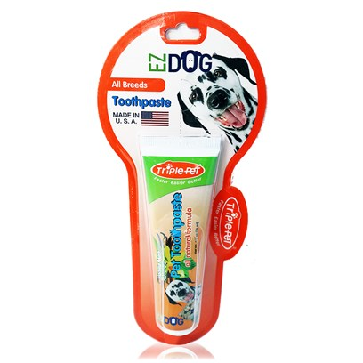 Trixie Presents Triple Pet Toothpaste 2.5oz Vanilla-2.5oz Tube. TriplePet all Natural Sugar Free Toothpaste is Sweetened with Stevia, an Herb. It Uses just a Touch of Tea Tree Oil to Promote Healthy Gums. Pets Love its Natural Vanilla Flavor which Leaves their Breath a Delight. The Paste has a Tartar Control Formula and is Non-Foaming. This is the only Sugar Free, all Natural Toothpaste Available. The Rest Sweeten with some Form of Sugar. This is the Best Pet Toothpaste Made! Packaged 2.5oz Tube in 1/Peggable Blister Card - 2.5&quot; X 9.15&quot; X 1.0&quot;. Available 12 Cards/Cut off Carton Display - 7.0&quot; X 10.0&quot; X 8.2&quot;, 2.8 Lbs. [19143]