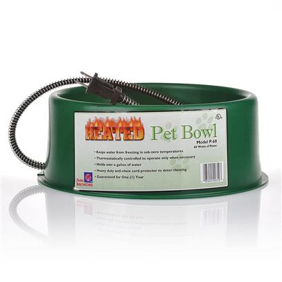 Farm Innovators Presents Farm Innovators Heated Pet Bowl 3 Quart. 3 Qt Heated Pet Bowl with Stainless Steel Bowl Insert Thermostatically Controlled to Operate only when Necessary 40 Watts of Power Non-Skid / Non-Tip Rubber Buttom to Prevent from Moving Molded in Stainless Steel Bowl is Very Durable and Easy to Clean Heavy Duty Anti-Chew Cord Protector to Deter Chewing Keeps Water from Freezing in Sub-Zero Temperatures 3 Quart Capacity 1 Year Warranty [19151]