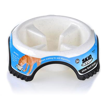 "Jw Pet Company Presents Skid Stop Slow Feed Bowl Medium-8.5' X 2.5' 8.5' (2.6oz ). Skid Stop Slow Feed Bowl Slow your Fast Eater! The Skid Stop Slow Feed Bowl is Designed to Help your Dog Stop ""Wolfing"" Down their Food. Fast-Eating Dogs Often Suffer from Bloating and Digestive Discomfort, so it's Important to Encourage your Pet to Take it Easy. The Skid Stop Slow Feed Bowl Helps your Dog Avoid the Effects of Fast-Eating, Stays in Place and is Extremely Durable. Available in 3 Sizes Medium (8.5 X 2.5' X 8.5' - 2.6 Oz.) Large (10.5' X 3.2' X 10.5' - 3.2 Oz.) Jumbo (13.2' X 4' X 13.2') ' [19165]"