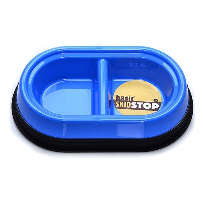 Jw Pet Company Presents Skid Stop Basic Double Diner-Asst Colors Jw Skidstop Dbl Diner Small (Sm). We have Added the Double Diner in a Small Eliminating the Need for a Separate Feed and Water Bowl. In Assorted Designer Colors (Sage Green, Ice Blue, Electric Blue and White) with a Black Skid Stop Base [19169]