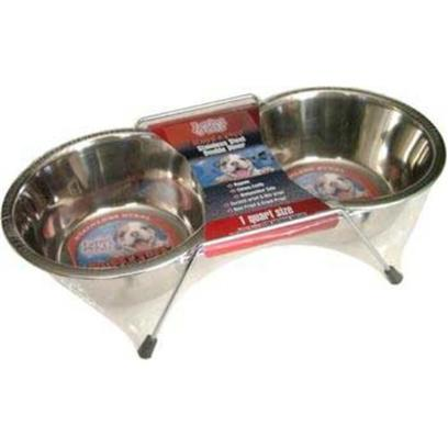 Loving Pets Presents Stainless Steel Packaged Double Diner Lv Ss Dbl Quart. Double Diners are an Excellent Feeding Dish, with Rubber Feet to Reduces Sliding and Helps Reduce some Potential Messes by your Pet. [19205]