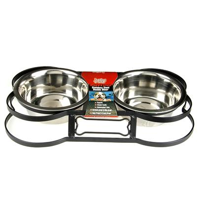 Loving Pets Presents Bone Shaped Wrought Iron Packaged Double Diner Quart. Wrought Iron Stand with Stainless Bowls Double Diner Individually Packaged Scroll Design 4.5&quot; Tall Bone Shaped [19225]
