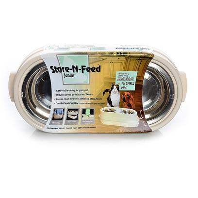 "Our Pets Company Presents Ourpets Store-N-Feed Diner Junior (Cat & Small Dogs). Designed Exclusively for Small Pets, Provides a Healthy, Comfortable Feeding Position. Unique Self-Watering System. Spill Ridge Keeps Food and Water off the Floor. Contains (2) 1-Qt Ss Bowls, Stores Dog Toys or 8lbs Dry Dog Food. Made in the Usa. 18"" X 8"" X 5.5"" [19239]"