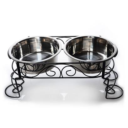 Ethical Presents Ethical Pet Stainless Steel Double Diner 2 Quart. Dimensions 3&quot; H X 20.5&quot; W X 11&quot; D  3 Quart Dimensions 4&quot; H X 24.5&quot; W X 13&quot; D [19327]