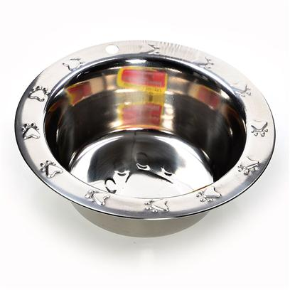 Ethical Presents Embossed 96oz. Stainless Steel Dish Designed with Embossed Paw Prints on Extra Wide Rims. Hygienic, Rust Resistant, Dishwasher Safe. [19349]