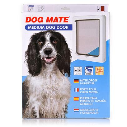 Ani Mate Presents Dog Mate Medium Door-White. The Robust Construction and Security Locking Panel are Popular Features of all Dog Mate Doors. The Medium Door is Suitable for Spaniels, Terriers, Poodles, Etc. Up to 18&quot; (460mm) Shoulder Height. * for Dogs Up to 18&quot; (460mm) Shoulder Height * Self Lining to 2&quot; (50mm) Thick -Ideal for all Doors and Walls * Robust Security Locking Panel * Silent Action Weatherproof Flap with Vision Panel * Lightweight Flap may be Used by Cats * Lifetime Parts Service * 3 Year Guarantee 13 &quot; X 11 3/8&quot; X 1 &quot;; Dogs to 18&quot; Shoulder Height (50+) or any Cat; 2.68lbs [19425]