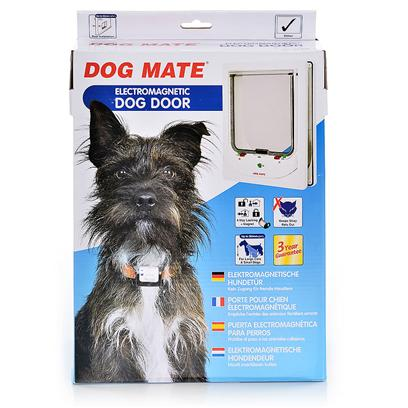 Ani Mate Presents Dog Mate Electromagnetic Door-White Animate Electromgntic Door Wht. Stray Pets can Often be a Big Problem, but this Highly Proven Design Provides a Reliable Solution. The Dog Wears a Small Magnet that Doubles as an Identification Tag. A Sensitive, Fast Reacting Circuit in the Dog Door Guarantees Instant Entry for Selected Dogs of all Temperament. All Dog Mate Electromagnetic Doors Feature an Easy to Use 4 Way Locking System. A Single Pp3 (9v) Battery will Typically Give at Least 12 Months Operation. * Silent Action - Won't Frighten Pet or Disturb Owner * Draught and Weatherproof Brush Sealed Flap with Magnetic Closure * Transparent Flap * Lifetime Parts Service * 3 Year Guarantee * Keep Stray Pets out * Suitable for Large Cats and Dogs to 14&quot; (360mm) Shoulder Height * Dog Door Supplied with 2 X Dog Magnets * Easy to Use 4 Way Locking System * Self Lining to 2 3/8&quot; (60mm) Thick - Ideal Fore all Doors 12&quot; X 9 &quot; X 5&quot;; Dogs and Cats to 14&quot; Shoulder Height; 2.30lbs [19427]