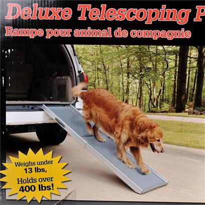 Solvit Presents Deluxe Telescoping Pet Ramp. Aluminum &amp; Plastic Construction Combines to Make the Lightest and Strongest Ramp on the Market. Telescoping Design is More Versatile and Easier to Use than Folding Ramps Weighs under 13 Lbs, so it's Easy to Use and Carry. Holds over 400 Lbs. With no Bending! Adjusts from 39&quot;-72&quot; Innovative Walking Surface has Gentle &quot;Wave&quot; to Improve Pets' Traction. Easy Carry Handle 39-72&quot; X 17&quot; X 4&quot; [19457]