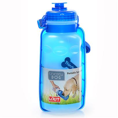 Lixit Presents Thirsty Dog Portable Water Bottle &amp; Bowl 16oz Lixit. 16 Oz Personal Travel Water Bowl for Dogs Attaches to Belt or Pants, Take Fresh Water Anywhere Use for Camping, Hiking, Parks and More [19493]