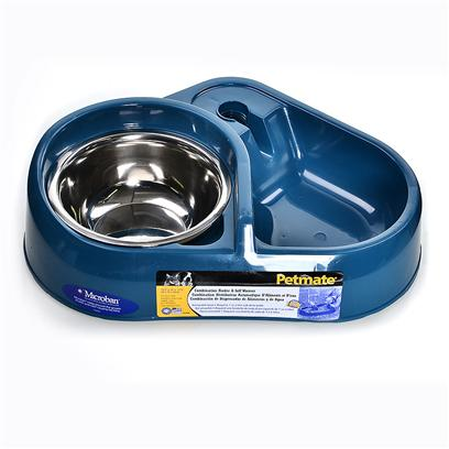 "Petmate Presents Combo Feeder & Waterer with Stainless Bowl Pm. Now with Microban Anti-Bacterial! Supplies Pet with Water while Owners are Away. Tough Plastic Base Holds Food Reservoir for Food ""on Demand."" [19516]"