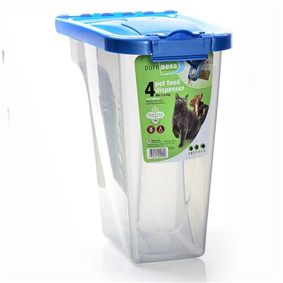 Van Ness Presents Pet Food Dispenser 4lb Vness. Ergonomically Designed Handle Grip and Flip Top Spout for Easy, One Handed Dispensing of Pet Food. 4 Pound Capacity for Pet Food Meets Food Storage Needs of Both Cats and Small Dogs. Lid &amp; Flip Top Feature a Fresh Tite Seal that when Combined with Locking Front Latch Keeps Air out and Food Fresh. Safe for your Pet, Manufactured with the U.S. Food and Drug Administrations Food Contact Approved Plastic and Colorant. Container Features a Transparent Smoke Finish so Food Quantity is Easy to Track. [19561]