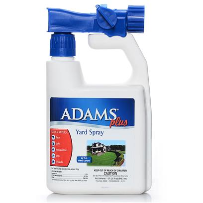 Farnam Presents Adams Plus Yard Spray 32oz. Adams Plus Yard Spray is for the Outdoors. It Kills and Repels Fleas, Ticks, Mosquitoes, Ants, Crickets and Other Insects Listed on the Label. The Spray is for Use Around Residential (Home) Areas only and can be Used on Lawns, Trees, Shrubs and Flowers. Fleas Collect in Shady Areas, where Pets Spend Most of their Time. Fleas do not Develop in Sunny Areas. Use the Spray where Pets Frequent Most. Allow the Spray to Dry Before Allowing People or Pets Onto Treated Areas. The Spray Treats Up to 5000 Square Feet. [19574]
