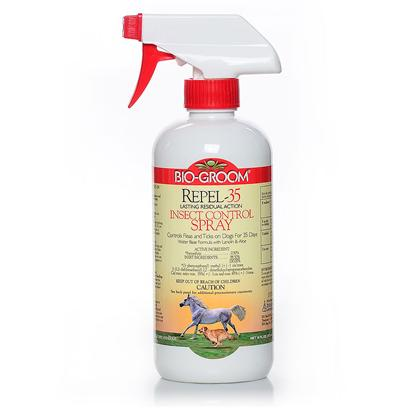 Bio Groom Presents Repel-35 Insect Control Spray 16oz Bio Cntrl. Repel 35 by Bio Groom is a Lasting Residual Action Insect Control Spray. Repel 35 Kills Lice and Louse Eggs, Ticks and Fleas (Adult and Larvae) on Dogs. Repel 35 will Control Fleas and Ticks on Dogs for 35 Days! It is Made with a Water Base Formula with Lanolin and Aloe. 16 Oz [19576]