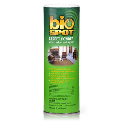 Farnam Presents Bio-Spot Carpet Powder 16oz. Kills Fleas and Ticks on Carpet Kills all Four Stages of the Flea Eggs, Larvae, Pupae and Adult Controls Reinfestation Up to a Year [19577]