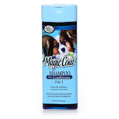 Four Paws Presents Magic Coat 2-in-1 Shampoo/Conditioner 16oz Fp Mgc 2in1 Sh/Cndtr. Cleans & Conditions in just One Easy Step! Protein Enriched Formula Leaves Coat Soft, Shiny & Tangle Free. 16 Oz [19586]