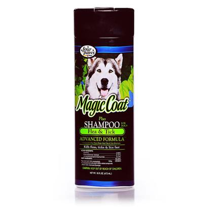 Four Paws Presents Magic Coat Plus Flea &amp; Tick Shampoo-16oz 16oz Bottle. Magic Coat Plus Flea and Tick Shampoo Kills Fleas, Ticks and Lice while Cleaning and Conditioning the Hair at the Same Time. It also Removes Matted and Tangled Hair in One Easy Operation. The Shampoo Leaves a Very High Luster on the PetS Coat. Repeat Weekly if Necessary. Use on Dogs and Cats 12 Weeks and Older. Concentrate Rubbing on Matted and Tangled Areas. Allow the Lather to Penetrate at Least 5 Minutes. Rinse Dog Thoroughly and Towel Dry. Comb and Brush Dog Until Completely Dry. This Shampoo Leaves a Very High Luster on your PetS Coat. Repeat Weekly if Necessary. Do not Use on Puppies under 12 Weeks. Sensitivities may Occur After Using any Pesticide Product for Pets. If Signs of Sensitivity Occur, Bathe your Pet with Mild Soap and Rinse with Large Amounts of Water. [19587]