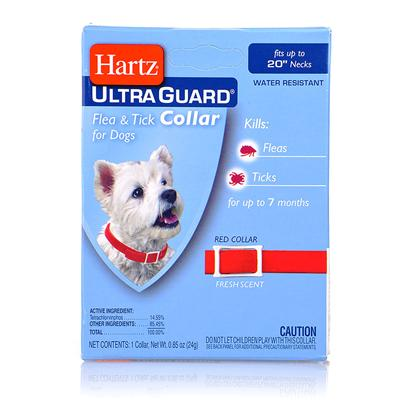 Hartz Presents Hartz Ultraguard Flea and Tick Dog Collar F &amp; T 20'-Red. This Dual-Action Collar Provides Effective Protection from Fleas and Ticks for Dogs of all Breeds and Life Stages. The Ultraguard Flea and Tick Collar is Waterproof and Kills Both Fleas and Ticks for Up to 5 Months. This Collar DoesnT have a Harsh Chemical Odor, and is Safe for Use on Puppies 6 Weeks of Age or Older. From the Rocky Mountain Wood Tick (Known Carrier of Rocky Mountain Spotted Fever) to the Deer Tick (Known Carrier of Lyme Disease), this Collar will Kill these Ticks, Rain or Shine. You can Even Let your Dog or Puppy Go Swimming without Fear of this Collar Losing its Effectiveness. [19589]
