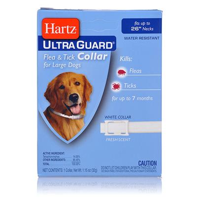 Hartz Presents Hartz Ultraguard Flea & Tick Large Dog Collar F T 26'. Fleas and Ticks are Year Round Guests that can Live in the Carpet and Furniture and can Even Attack Humans. Enter the Ultraguard Flea and Tick Collar from Hartz. They are Easy to Put on your Dog and Highly Effective, Keeping Both you and your Dog Bite-Free. [19590]