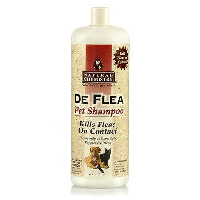 "Natural Chemistry Presents Natural Chemistry de Flea Shampoo 32oz. Natural Chemistry de Flea Pet Shampoo is Non-Toxic and does not Contain Pyrethrins or Similar Chemicals that may be Harmful to your Pet's Health. For Use on Dogs, Cats, Puppies and Kittens over 12 Weeks of Age. Will not Wash out ""Spot on Flea and Tick Treatments."" [19594]"