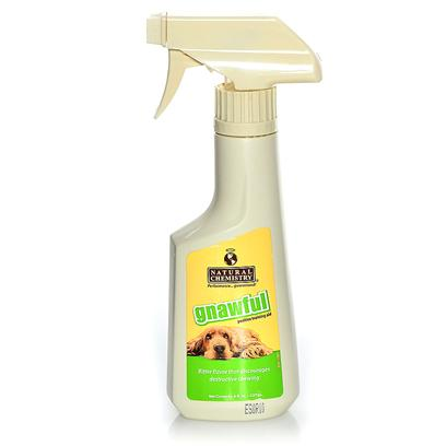 Natural Chemistry Presents Natural Chemistry Gnawful 8oz. A Bitter Tasting Spray to Discourage Unwanted Chewing and Biting. Alcohol Free. Natural Chemistry's Gnawful Positive Training Aid Encourages Good Behavior, in a Positive Way. Creates a Confident Pet and a Happy Home. Directions Spray-on Pet and/or Furniture to Discourage Destructive Biting or Chewing. No Need to Rinse. Always Spray on a Small Test Area to Check for Color Fastness Prior to Use. [19597]