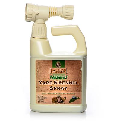 Natural Chemistry Presents Natural Chemistry Yard & Kennel Spray 24oz. Natural Yard and Kennel Spray Kills Fleas and Ticks on Contact. It is for Use on Lawns, Trees, Outside Surfaces, Shrubs, Roses and Other Flowers. The Spray Provides Flea and Tick Control for Up to One Week. It is Non-Toxic and can be Applied Even when Pets are Present. It has a Natural Botanical Extract Formula that does not Contain Pyrethrins or Similar Chemicals. Hose End Sprayer Hooks Up Conveniently to Outdoor Water Supply. Natural Yard and Kennel Spray Leaves a Natural Scent of Cinnamon and Clove. [19603]