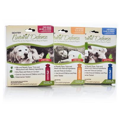Sergeants Presents Natural Defense-Natural Flea and Tick Squeeze-on for Dogs Puppies over 40lbs-3 Pack. Prevent Fleas and Ticks on your Dog without Using Tons of Chemicals that you canT Pronounce. Sentry Natural Defense Natural Flea and Tick Control is Sensitive Enough for Puppies and Strong Enough for Dogs by Using Natural Oils Such as Peppermint, Cinnamon, Lemongrass and Thyme. [19607]