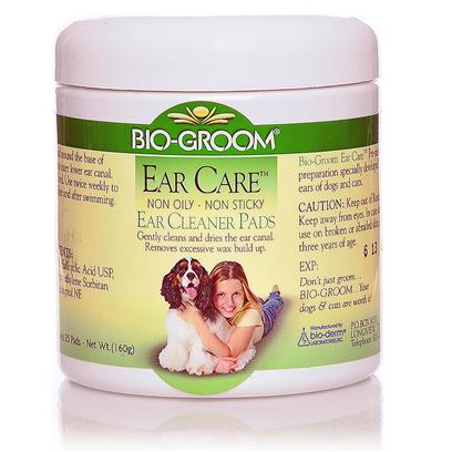 Bio Groom Presents Ear Care Pads 25. Helps Reduce Ear Odors. Gently Cleans and Dries the Ear Canal. Removes Excessive Wax Build Up. Is Non-Oily and Non-Sticky. [19625]