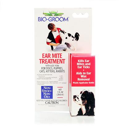 Bio Groom Presents Bio Groom Ear Mite Treatment 1oz. Bio Groom Ear Mite Treatment is an Easy-to-Use Drop that Quickly Kills Ear Ticks and Ear Mites while Removing Ear Wax. The Non-Sticky, Non-Oily Formula Contains Soothing Aloe Vera, and it is Safe for Use in Dogs, Cats, Puppies, Kittens, and Rabbits. [19628]