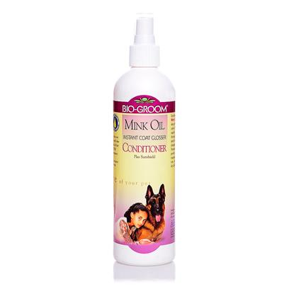 Bio Groom Presents Mink Oil Spray 12oz Bottle. Enriched with Vitamin E, Mink Oil Spray Gives the Hair a Beautiful Deep Down Luster and Sheen with One Application. It Thoroughly Conditions Coat and Skin, while Special Sunscreens Help Protect Hair from Sun Damage, Bleaching, Drying, and Breakage. It Promotes Healthy Coat Development and Growth, Leaving the Coat Manageable and Show Ring Ready. Non-Sticky, Non-Greasy, Non-Aerosol. [19630]